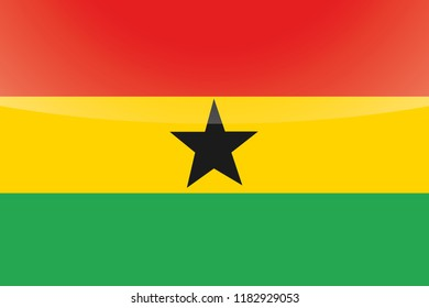 An Illustrated Glossy Country Flag of  Ghana