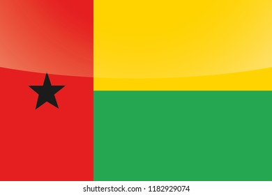 An Illustrated Glossy Country Flag of  Guinea Bissau