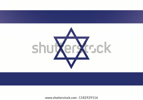 An Illustrated Glossy Country Flag of  Israel