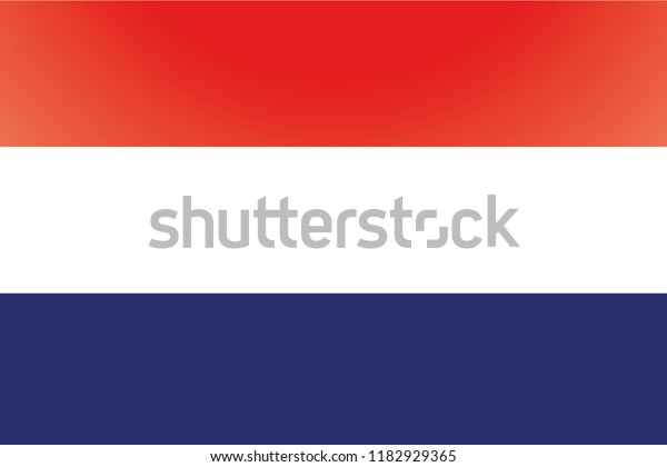 An Illustrated Glossy Country Flag of  Netherlands