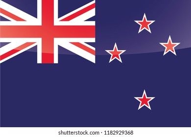 An Illustrated Glossy Country Flag of  New Zealand