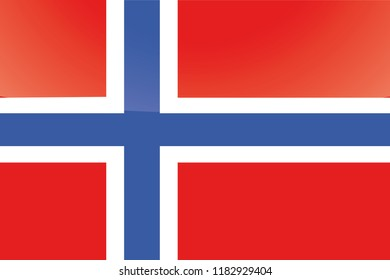 An Illustrated Glossy Country Flag of  Norway