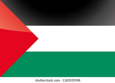 An Illustrated Glossy Country Flag of  Palestine