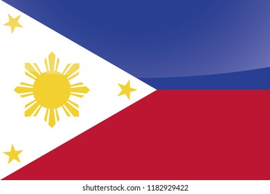 An Illustrated Glossy Country Flag of  Philippines