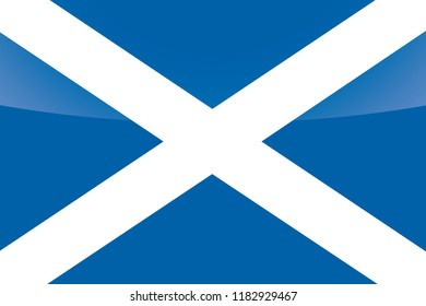 An Illustrated Glossy Country Flag of  Scotland