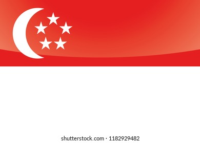 An Illustrated Glossy Country Flag of  Singapore