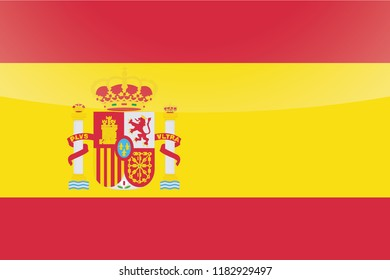 An Illustrated Glossy Country Flag of  Spain