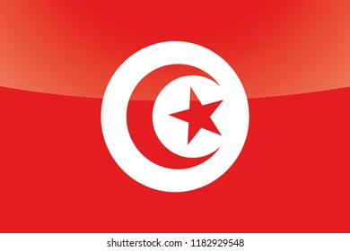 An Illustrated Glossy Country Flag of  Tunisia
