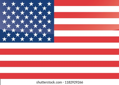 An Illustrated Glossy Country Flag of  United States of America