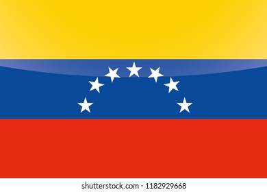 An Illustrated Glossy Country Flag of  Venezuela