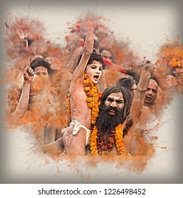 Illustrated holy Maha Kumbh Mela once in 12 years the greatest congregation of humankind Allahabad, Uttar Pradesh/ India- January 13 2013: Day 1