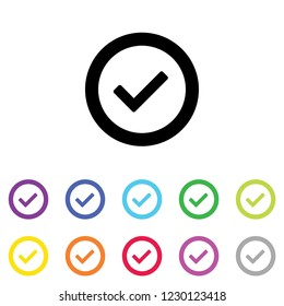 An Illustrated Icon in an array of colours on a White Background -  Round Tick
