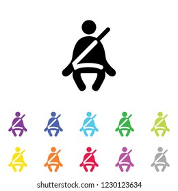 An Illustrated Icon in an array of colours on a White Background -  Seatbelt Light-23