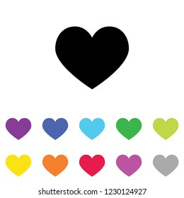 An Illustrated Icon in an array of colours on a White Background -  Heart