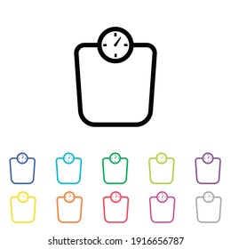 An Illustrated Icon in an array of colours on a White Background - Scales line icon on white.