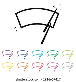 An Illustrated Icon in an array of colours on a White Background -  Car windscreen wiper icon