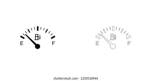 An Illustrated Icon Isolated on a Background - Petrol Gauge Empty