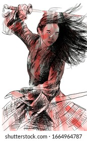 illustrated image of my work. drawing the figure of Liu Yifei, the Chinese action star who plays Hua Mulan in the live-action film Mulan. digital painting technique, made in Jakarta, March 5, 2020.