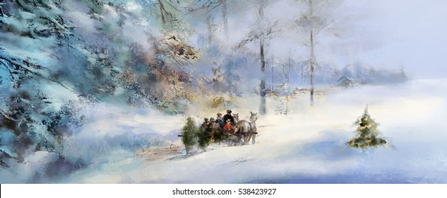 illustrated joyful anticipation of Advent and Christmas, horses pulling family on sleigh carrying Christmas tree through deeply snow covered winter forest