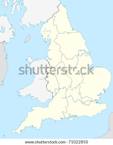 Country Map Of England.Illustrated Map Country England Europe Stock Illustration 71022850