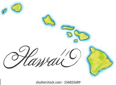 An illustrated map of Hawaii.