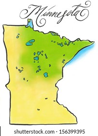 An illustrated map of Minnesota.