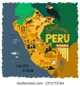 Illustrated map of Peru. Illustration with all main tourist attraction of the country. Tawantinsuyu (quechua language) - The Inca Empire.