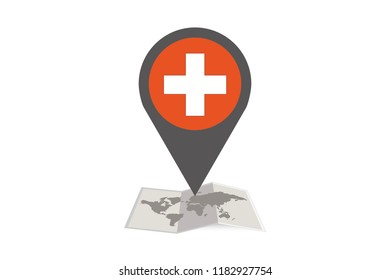 An Illustrated Map and Pointer with the Country Flag of  Switzerland