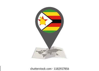 An Illustrated Map and Pointer with the Country Flag of  Zimbabwe