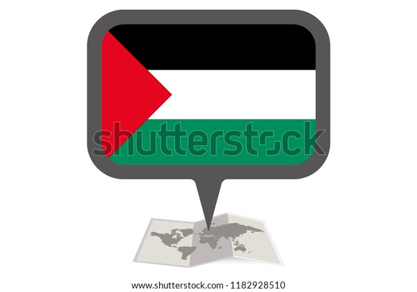 An Illustrated Map and Pointer with the Country Flag of  Palestine
