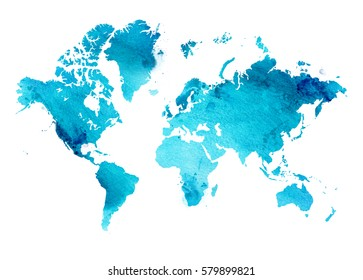 Illustrated map of the world with a isolated background. blue heaven watercolor