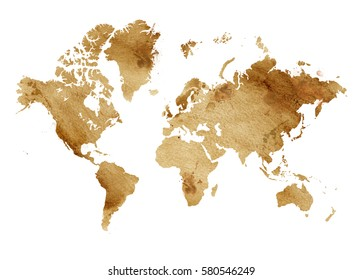 Illustrated map of the world with a isolated background. brown sepia watercolor