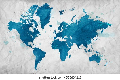 Illustrated map of the world on crumpled paper. White Horizontal background.