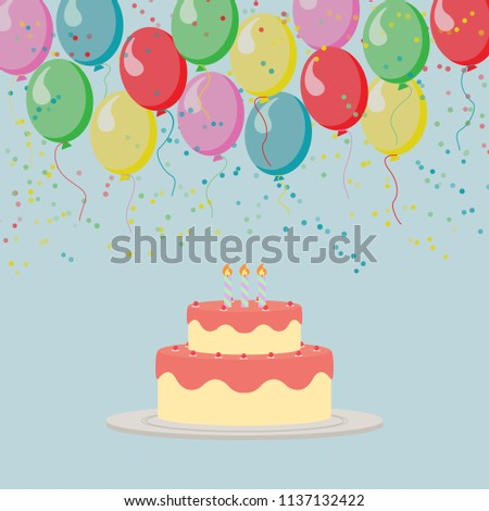 Illustrated Pattern With Birthday Cake And Balloons