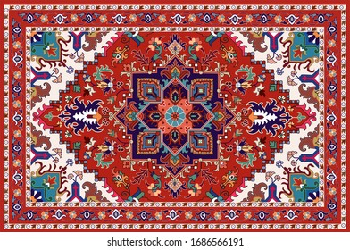 Illustrated Persian carpet original design, tribal texture.