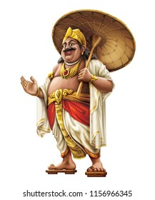Illustrated picture of Mahabali. He was a beloved king in the state of Kerala. He return to Earth once every year and it is called festival of Onam. Also called as Maveli.