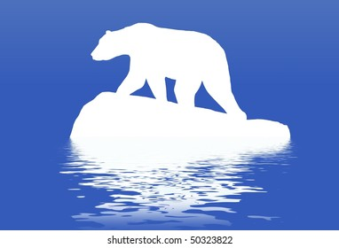 Illustrated polar bear standing on a block of ice