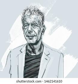 Illustrated portrait of chef, storyteller, enthusiast, documentarian Anthony Bourdain