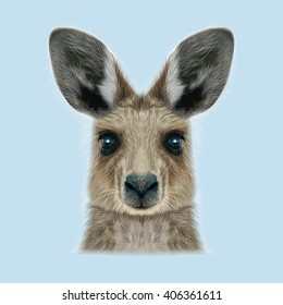 Illustrated portrait of Kangaroo. Cute head of wild Australian mammal on blue background.