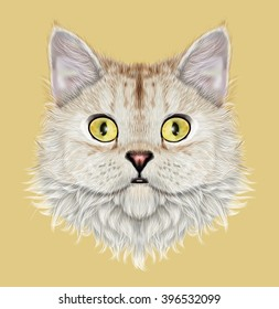 Illustrated portrait of Selkirk Rex cat. Cute face of cute domestic cat on yellow background.