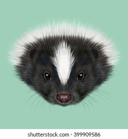 Illustrated Portrait of Skunk. Cute face of Striped skunk on green background.