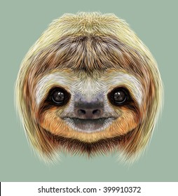 Illustrated Portrait of Sloth. Cute face of tropical Three-toed Sloth on green background.