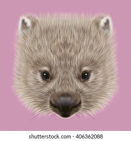 Illustrated portrait of Wombat. Cute face of Australian mammal on pink background.