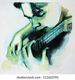 Illustrated portrait of young man with guitar | handmade | self made