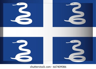 An Illustrated Rectangular 3D Flag for the Country of Martinique