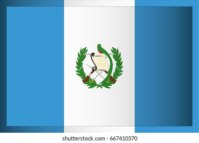 An Illustrated Rectangular 3D Flag for the Country of Guatemala