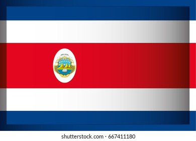 An Illustrated Rectangular 3D Flag for the Country of Costa Rica