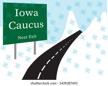 Illustrated roadway with green exit sign Iowa Caucus, Next Exit in white text graphics on snow covered hillside.