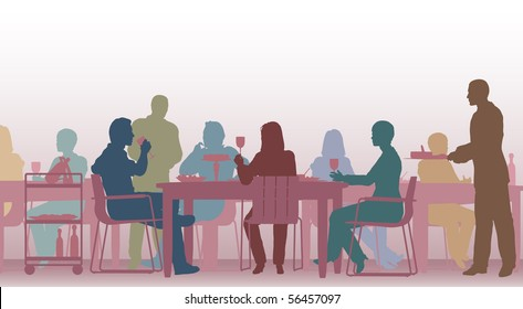 Illustrated scene of people eating in a restaurant
