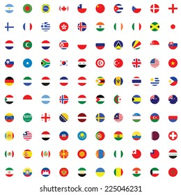 An Illustrated Set of World Flags - Round